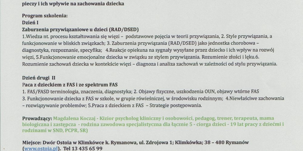 Nabór na szkolenie dla opiekunów zastępczych z podkarpacia – Świadomi Zaburzeń w Klimkówce!